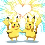 <3 blue_eyes electricity good_frog heart holding_hands jumping no_humans open_mouth pikachu pokemon pokemon_(creature) simple_background smiling
