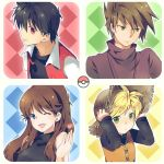 2girls androgynous black_dress black_hair blonde_hair blue_(pokemon) blue_eyes brown_hair dress green_eyes hat heart jacket jewelry long_hair multiple_boys multiple_girls necklace nintendo ookido_green open_mouth poke_ball pokemon pokemon_special red_(pokemon) red_eyes reverse_trap short_hair smile straw_hat tachiuo_(arines) wink yellow_(pokemon)