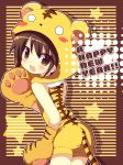 absurdres animal_costume animal_ears blush blush_stickers brown_eyes brown_hair costume english fang highres kimoko looking_back new_year original paws shadow solo star tail tiger_costume tiger_ears tiger_print tiger_tail