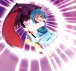 :p blue_hair chaba_(hortensia) danmaku geta karakasa_obake laser no_socks red_eyes short_hair tatara_kogasa tongue touhou umbrella wink