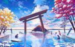 bird cloud clouds flood japanese_clothes kimono komainu lantern miko original post-apocalyptic reflection scenery shrine sky snow solo stone_lantern temple torii tree water
