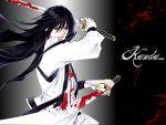 black_eyes blood d.gray-man hair kanda_yuu long sword weapon white_shirt