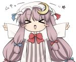 >:3 >_< :3 bad_id blush_stickers chibi crescent crescent_moon hat long_hair mukyuu open_mouth patchouli_knowledge purple_hair ribbon solo tefun touhou x3