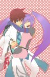 1girl asbel_lhant bad_id blue_eyes brown_hair carrying long_hair princess_carry purple_hair smile sophie_(tales_of_graces) tales_of_(series) tales_of_graces twintails