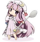 :< bad_id barefoot chibi crescent crescent_moon hair_ribbon hat long_hair lowres open_mouth patchouli_knowledge pointing purple_eyes purple_hair ribbon solo spoon star tefun touhou very_long_hair violet_eyes