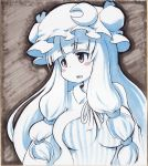 blueberry_(5959) blush_stickers breasts crescent hair_ribbon hat long_hair patchouli_knowledge ribbon solo touhou