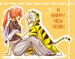 alternate_hairstyle animal_costume costume hong_meiling inukoro inukoro_(wolf) izayoi_sakuya new_year ponytail tiger_costume tiger_print touhou