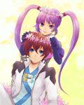 1girl asbel_lhant bad_id blue_eyes brown_hair flower gloves noko_(artist) purple_eyes purple_hair smile sophie_(tales_of_graces) tales_of_(series) tales_of_graces twintails violet_eyes