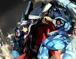cape formal male manly metagross metang nintendo one-eyed pokemon pokemon_(game) pokemon_rse red_eyes short_hair silver_hair toriko toriko_(artist) tsuwabuki_daigo white_hair