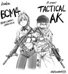 ak-47 assault_rifle belt didloaded earrings english gloves gun headset highres holster jewelry m4_carbine multiple_girls open_mouth operator original rifle scarf trigger_discipline vertical_foregrip watermark weapon