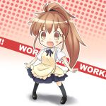 aoba_(kmnm3234) apron blush brown_eyes brown_hair chibi open_mouth smile solo taneshima_popura waitress working!!