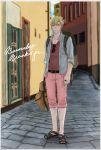 backpack bag barnaby_brooks_jr blonde_hair blue_jacket capri_pants denim denim_jacket green_eyes jacket jewelry male ponytail ring sandals short_ponytail solo tiger_&_bunny yasucaflex
