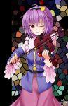 chien_zero detached_sleeves eyeball hairband heart instrument komeiji_satori ourobunny playing_instrument purple_eyes short_hair skirt smile solo stained_glass third_eye touhou violet_eyes violin wink