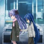 :3 ahoge blue_eyes blue_hair company_connection green_eyes hiiragi_kagami isou_nagi izumi_konata kyoto_animation long_hair lucky_star multiple_girls parody purple_hair revision sleeve_tug suzumiya_haruhi_no_shoushitsu suzumiya_haruhi_no_yuuutsu twintails yuri