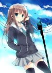aqua_eyes azumi_kazuki bird black_legwear brown_hair cardigan cloud clouds earphones hand_in_pocket idolmaster idolmaster_cinderella_girls jewelry long_hair necklace necktie school_uniform shibuya_rin skirt sky solo thigh-highs thighhighs zettai_ryouiki