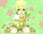 boy child gachapoid green_eyes green_hair headphones male microphone necktie nichrome open_mouth ryuuto_(vocaloid) short_hair shota sitting smile solo vocaloid