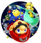 2boys :d :o aqua_eyes blonde_hair blue_eyes dress earrings facial_hair flying gloves hair_over_one_eye hat high_heels jewelry long_hair luigi luma mario mikami multiple_boys mustache nail_polish open_mouth outer_space overalls pumps rosalina rosalina_(mario) shoes side_burns smile space star star_(sky) star_bit starbits super_mario_bros. super_mario_galaxy upside-down wand