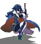 armor blue_eyes blue_hair cape fire_emblem fire_emblem:_kakusei hairband highres long_hair lucina planted_sword planted_weapon shouko829 solo sword weapon