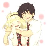 1girl ao_no_exorcist blonde_hair blush bowtie closed_eyes couple eyes_closed hairband hug moi_(xxxo) moriyama_shiemi necktie okumura_rin school_uniform short_hair simple_background smile striped striped_necktie