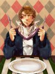 ^_^ argyle argyle_background bib blonde_hair blue_jacket bomber_jacket closed_eyes eyes_closed fork jacket keith_goodman knife male plate sachiko_(omame) solo tiger_&_bunny