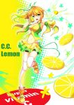 bike_shorts blonde_hair bottle c.c._lemon c.c._lemon_(character) can detached_sleeves fatkewell food fruit gradient_hair green_eyes green_hair heterochromia juice lemon long_hair midriff multicolored_hair navel original side_ponytail solo thigh-highs thighhighs yellow_eyes