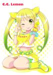 :p ;p belt blonde_hair blush boots bottle breasts c.c._lemon c.c._lemon_(character) earbuds earphones food fruit gradient_hair hair_ornament halftone halftone_background lemon long_hair looking_at_viewer multicolored_hair nail_polish navel sitting smile solo tongue twintails two-tone_hair uta_(kuroneko) wink wristband yellow_eyes