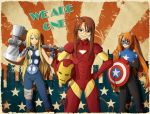 avengers blonde_hair brown_hair captain_america cosplay crossover extremis_armor glasses hammer hasegawa_chisame iron_man kagurazaka_asuna kunoichi-san mahou_sensei_negima! marvel mask mjolnir multiple_girls power_armor red_hair redhead shield thor thor_(marvel) ultimate_thor yukihiro_ayaka
