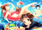 2boys ;q ball barefoot beachball bikini black_hair blue_eyes breasts brown_eyes brown_hair creature double_bun drink eevee feet female_protagonist_(pokemon_bw2) fisheye frilled_bikini frills front-tie_top goggles goggles_on_head hue_(pokemon) innertube kyouhei_(pokemon) leg_up long_hair male_protagonist_(pokemon_bw2) marill mei_(pokemon) multiple_boys namie-kun oshawott partially_submerged poke_ball pokemon pokemon_(game) pokemon_bw2 red_eyes riolu rival_(pokemon_bw2) salute shell short_hair sky smile sunglasses sunglasses_on_head swim_trunks swimsuit tail tongue twintails v wading water wetsuit wingull wink