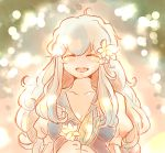 ahoge blue_hair closed_eyes eyes_closed flower kamishirasawa_keine komaku_juushoku leaf long_hair no_hat no_headwear open_mouth smile solo touhou