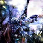 adepta_sororitas armor blue_eyes bolter book chainsword gun highres long_hair misako power_armor purity_seal scar silver_hair sisters_of_battle skull solo warhammer_40k weapon