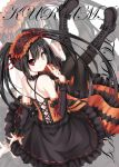 1girl black_hair calendar clock_eyed date_a_live hairband heterochromia highres lolita_hairband long_hair looking_at_viewer sigemi smile solo tokisaki_kurumi twintails zoom_layer