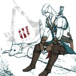 arrow assassin's_creed assassin's_creed_iii assassin's_creed assassin's_creed_iii bow bow_(weapon) connor_kenway fingerless_gloves fire gloves gun hood log logo lying no_eyes quiver r-541-e sitting vambraces weapon wolf