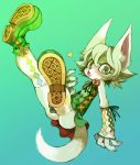 arm_warmers black_nose blush cat clothed copyright_request dress feline female flower furry green green_eyes hair heart kemono looking_at_viewer open_mouth ricosye shoes short_hair simple_background skirt solo ♥