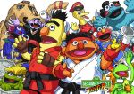 bert big_bird blanka blanka_(cosplay) chihedo chun-li chun-li_(cosplay) cookie_monster cosplay count_von_count dhalsim dhalsim_(cosplay) edmond_honda edmond_honda_(cosplay) elmo ernie fusion grover ken_masters ken_masters_(cosplay) kermit_the_frog microphone no_humans oscar_the_grouch parody rubber_duck ryuu_(street_fighter) ryuu_(street_fighter)_(cosplay) sesame_street street_fighter vega vega_(cosplay)