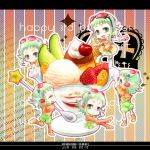 cake chibi dated food fruit goggles goggles_on_head green_eyes green_hair gumi happy_birthday megpoid_(vocaloid3) minigirl mizuki_ryou_(holic) multiple_girls multiple_persona short_hair smile strawberry vocaloid