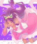 :d blush bow crown dark_skin dress hagoromo iris_(pokemon) long_hair open_mouth piany pink_eyes pokemon pokemon_(game) pokemon_bw2 purple_hair shawl smile solo star very_long_hair