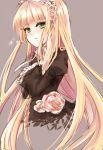 akano_sakura bangs blonde_hair blunt_bangs flower gosick green_eyes grey_background hairband parted_lips rose simple_background solo tears victorica_de_blois