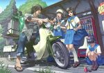 3girls absurdres bag beetle black_hair bottle can coca-cola drink drinking exhaust glasses helmet highres manabu_adachi motor_vehicle motorcycle multiple_girls nature original ponytail sandals school_uniform scooter seifuku sign tree vehicle vending_machine