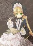 blonde_hair bonnet book densho_hato doily frills gosick gothic_lolita green_eyes grey lolita_fashion long_hair pipe ribbon solo victorica_de_blois