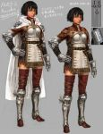 armor black_hair blue_eyes bob_cut capcom cloak concept_art dark_skin dragon's_dogma dragon's_dogma gauntlets mercedes_marten official_art short_hair solo tan thigh-highs thighhighs wavy_hair zettai_ryouiki