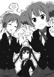 double_v hirasawa_ui k-on! kueru long_hair monochrome multiple_girls nakano_azusa ponytail school_uniform short_hair suzuki_jun twintails v
