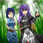 2girls ^_^ ahoge blue_hair breasts closed_eyes crossover dress forest fueiku gradient_hair hand_on_own_face hijiri_byakuren idolmaster juliet_sleeves layered_dress long_hair long_sleeves map miura_azusa multicolored_hair multiple_girls nature open_mouth pointing puffy_sleeves robe shade skirt skirt_set sleeveless sleeveless_shirt touhou very_long_hair yellow_eyes