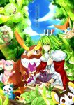 audino bracelet crown darmanitan emolga green_eyes green_hair holding holding_poke_ball jewelry kenneos leavanny liepard long_hair male n_(pokemon) oshawott petilil poke_ball pokemon reuniclus snivy teeth tepig translated victini whimsicott