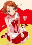 1girl bracelet brown_hair choker dress hair_ornament hairclip jewelry looking_at_viewer maeashi natsuki_rin precure red_dress red_eyes ribbon shirt shoes short_hair skirt solo yes!_precure_5