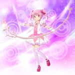 1girl bow bow_(weapon) flower gloves hair_bow kaname_madoka magical_girl mahou_shoujo_madoka_magica pink_eyes pink_hair shian_(my_lonly_life.) short_twintails smile solo sparkle twintails weapon white_gloves wings