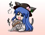 animal_ears cat_ears cat_tail food fruit hat hinanawi_tenshi keystone leaf long_hair lowres mabuchoco_m open_mouth peach rock rope simple_background solo tail tears touhou very_long_hair