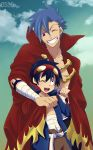 2boys abitu blue_hair cape goggles kamina male multiple_boys red_eyes simon smile tengen_toppa_gurren_lagann wink