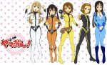 absurdres akiyama_mio belt black_eyes black_hair blonde_hair bodysuit boots brown_eyes brown_hair cosplay electric_screwdriver embarrassed grin hair_ornament hairband hairclip highres hirasawa_yui iwasan k-on! kotobuki_tsumugi lineup logo long_hair multiple_girls nakano_azusa open_mouth parody pigeon-toed polka_dot polka_dot_background raised_fists short_hair smile standing sweatdrop tainaka_ritsu thumbs_up tools twintails uchuu_senkan_yamato_2199 yellow_eyes