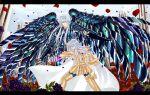 armor black_rose blue_sky fighting fighting_stance full_armor greek_columns griffon_minos male multiple_boys outdoors pisces_albafica rose rose_petals saint_seiya saint_seiya:_the_lost_canvas