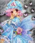 butterfly fingernails flower grey_background hand_on_own_face hat japanese_clothes kimono lace leaf light_particles lips looking_at_viewer marker_(medium) millipen_(medium) mitsuba_(threeleaf) nail_polish obi open_hand parted_lips pastel_(medium) pink_eyes pink_hair red_rose ribbon rose saigyouji_yuyuko short_hair solo touhou traditional_media triangular_headpiece